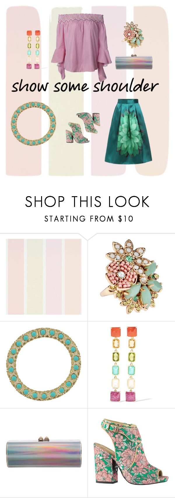 """#showsomeshoulder"" by things-fo4-your-head ❤ liked on Polyvore featuring Accessorize, Ciner, Ippolita, Jimmy Choo and showsomeshoulder"