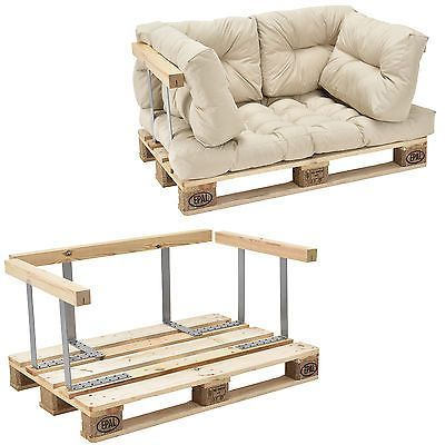 En Casa Euro Paletten Sofa Beige Armlehne 2 Sitzer Palettenpolster