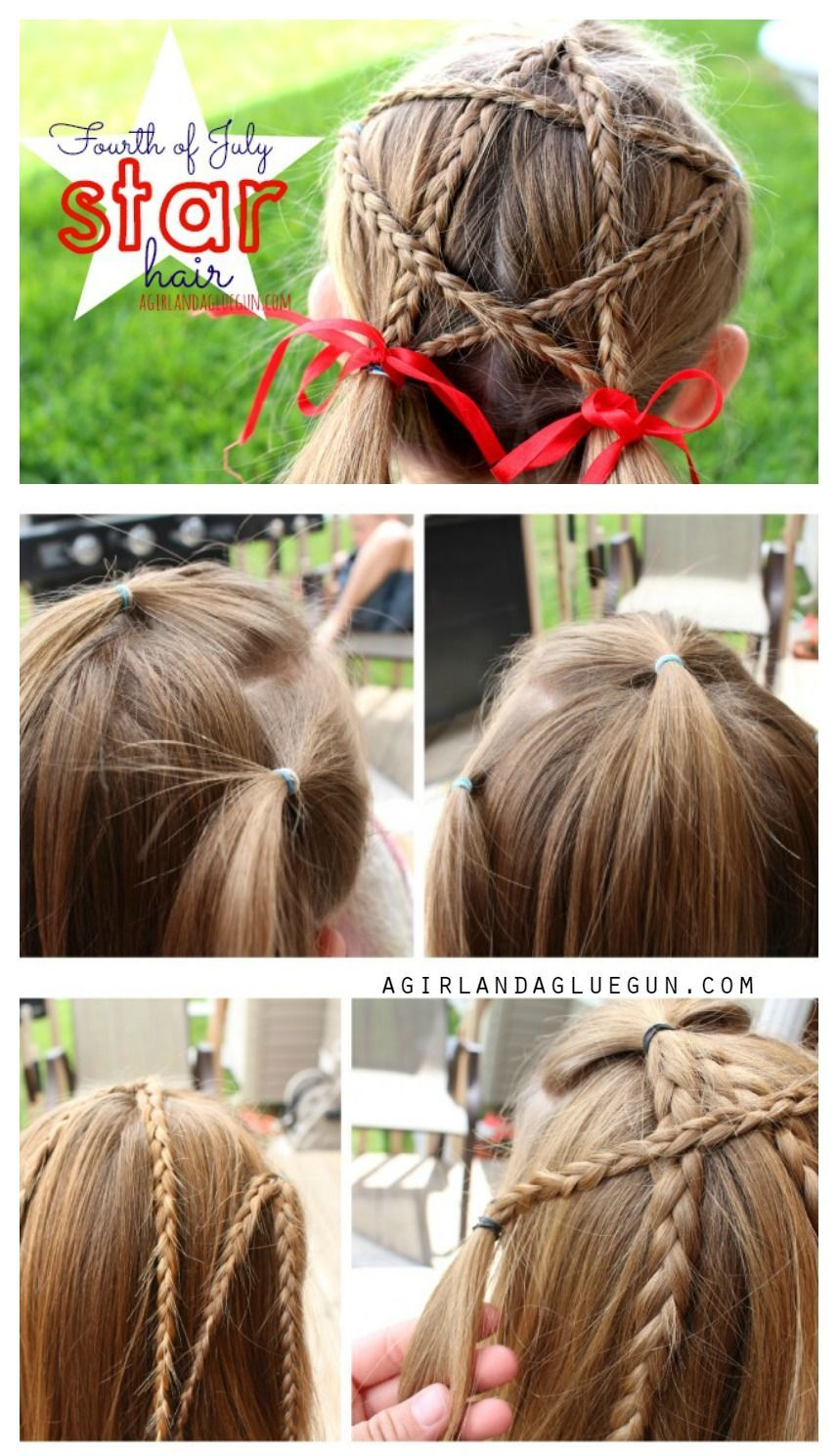 You can make this festive patriotic fourth of july star hair pinned