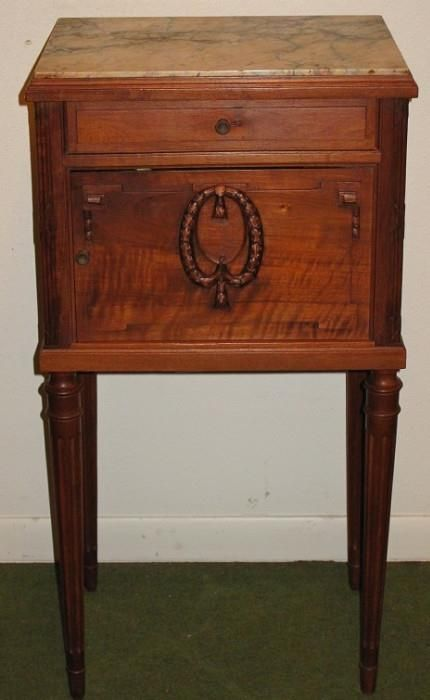 Antique Marble Top Smoke Stand W/Drawer Above Enamel Lined Humidor Cabinet