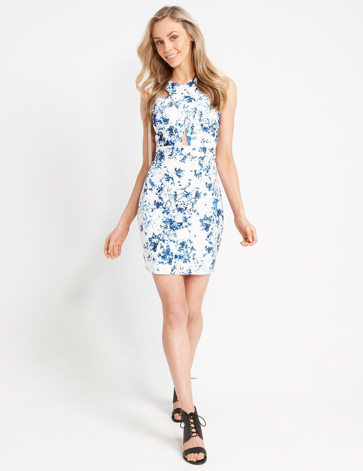 China Blue Fl Bodycon Dress Dotti Nz