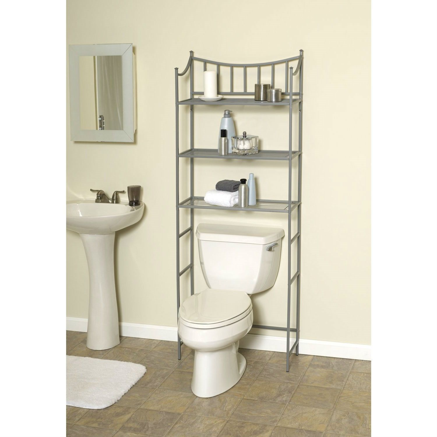 Bathroom Space Saving Over The Toilet Linen Tower Shelving Unit In
