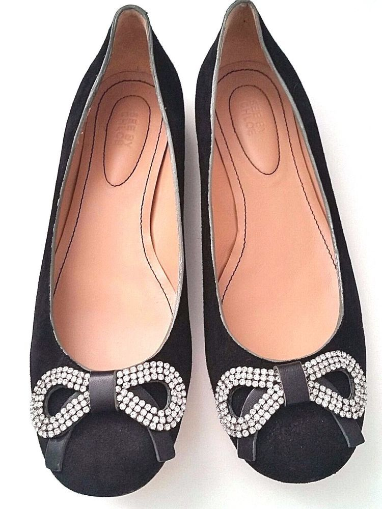 7bf16bdcaec235 See By Chloe Ballet Flats Ballerina Black Suede Crystal Rhinestone Bow 37.5  7.5  SeeByChlo  BalletFlats  Any