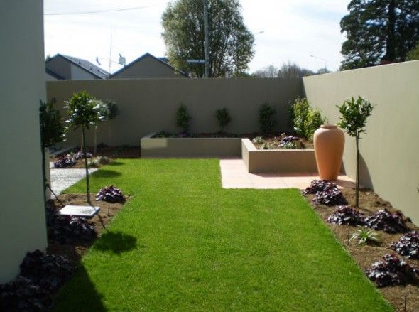 Artistic beautiful modern garden concept idea with simple for Simple landscape design
