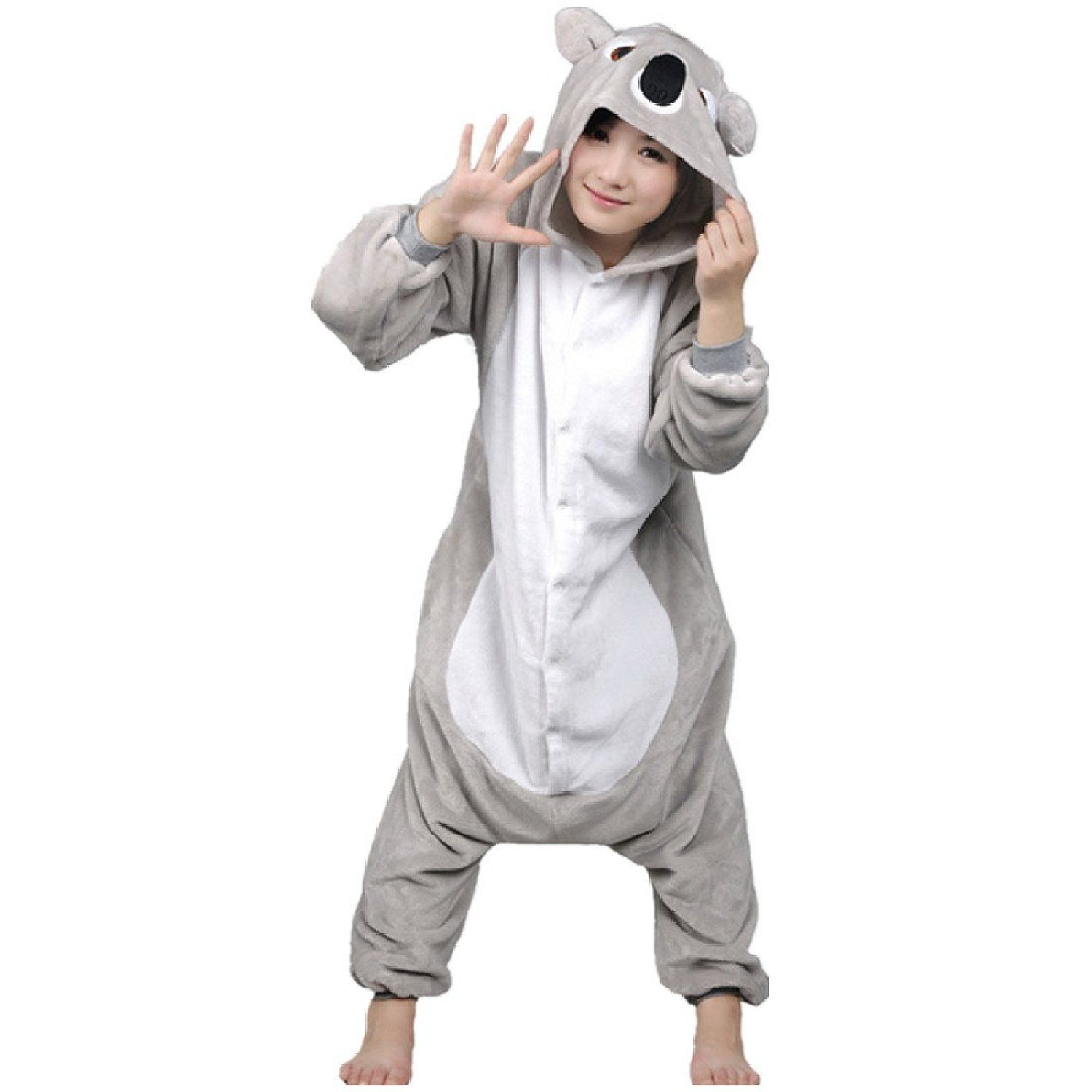 L Grey LIHAO Unisex Adult Pajamas Animal Cosplay Costume Onesie Sleepwear Pajamas Size