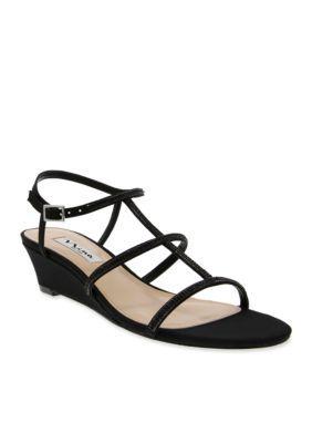 Nina Black Franzea Wedge Sandal