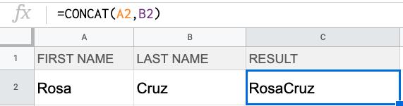Formula: =CONCAT(A2,B2)