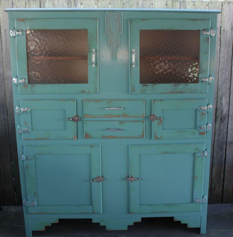 Antique Vintage Industrial Style Kitchen Hutch Dresser Cupboard Sideboard Rustic