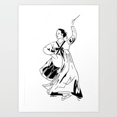 Traditional Korean Dancer With Drum Line Drawing Art Print By Janin Wise