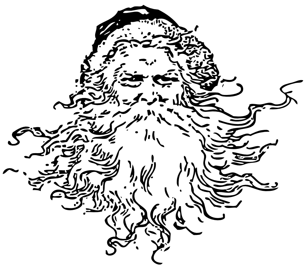 Santa head black and white vintage santa clipart
