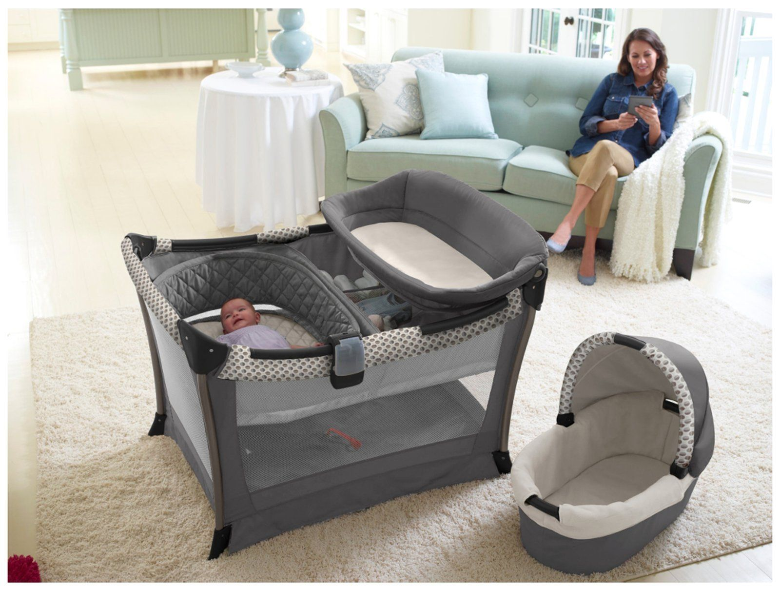 graco bedroom bassinet portable crib. graco day2night sleep system - bedroom bassinet \u0026 pack \u0027n play playard ardmore portable crib b