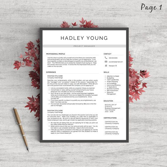 creative resume template for word and pages   references  cover letter  icons