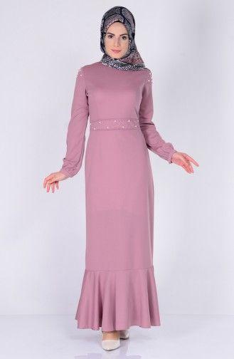 Sefamerve Inci Detayli Elbise 6054 09 Pudra Elbise Elbise Modelleri The Dress