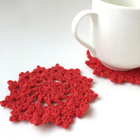 Snowflake Drink Coasters, Crochet Coasters, Eco Friendly Gifts, Gifts Under  10