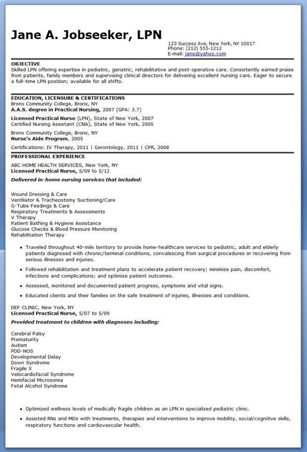 Sample LPN Resume Objective Creative Resume Design Templates - examples of cna resumes
