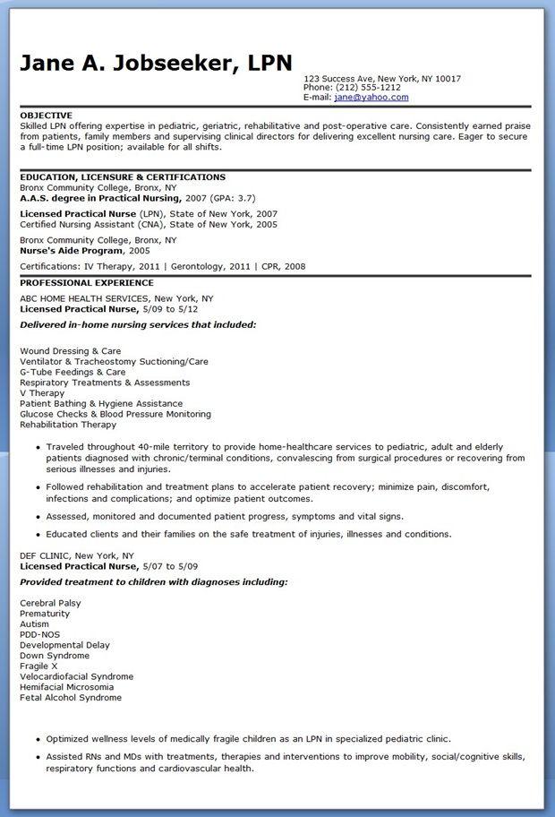 sample resume lpn new grad