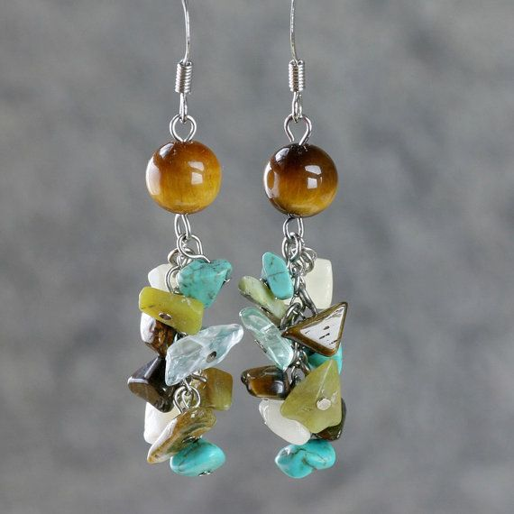 Turquoise /& Silver Earrings Handmade Boho Gemstone Earrings Anniversary Gift for Her Healing Crystals Statement Jewelry