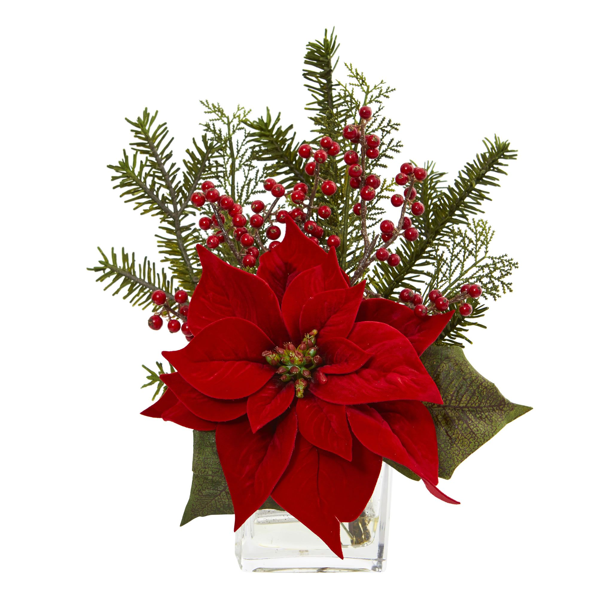 "Faux 14""H Poinsettia, Pine and Berries in Vase Christmas"