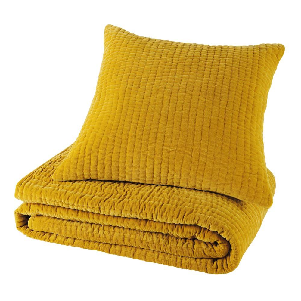 coussin en velours pique jaune moutarde 60 x 60 cm