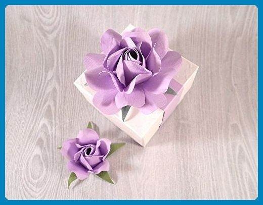 Wedding Gift Boxes with Lavender Flower and Matching Rosebud, Bridesmaid's Favor Boxes, Christening Favors, Bonbonniere - Set of 12 - Venue and reception decor (*Amazon Partner-Link)