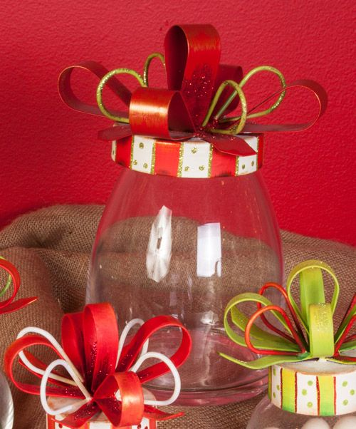 Red and White Christmas Bow Jar