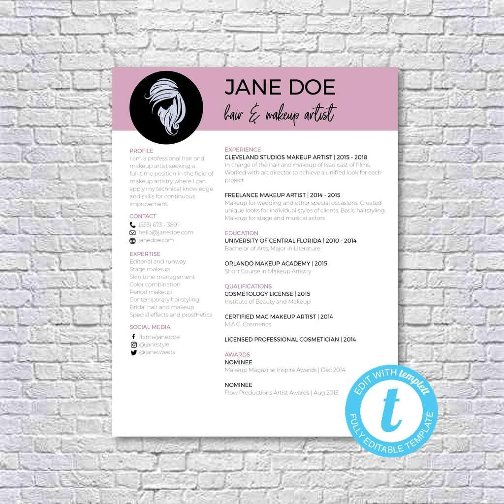 Hair Stylist + Makeup Artist Resume Template Makeup