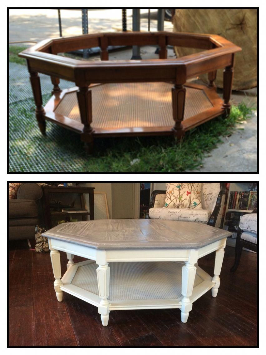 Old Octagon Shape Table Someone Dumped On The Side Of The Road For Trash Pick Up I Fil Glass Coffee Table Makeover Refurbished Coffee Tables Coffee Table Redo [ 1136 x 852 Pixel ]