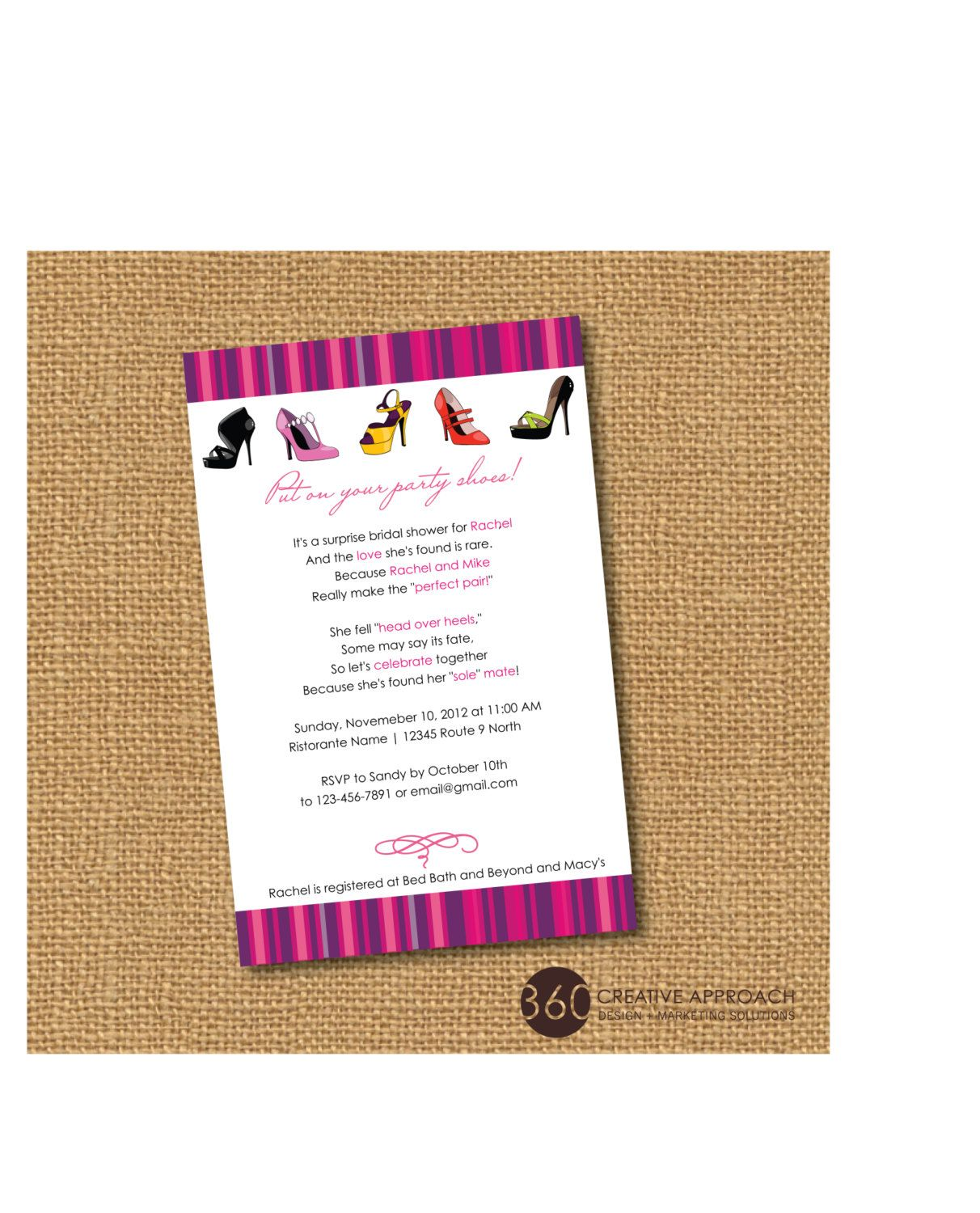 PRINTABLE Shoe Theme Bridal Shower Party Invite- DIY printable party ...
