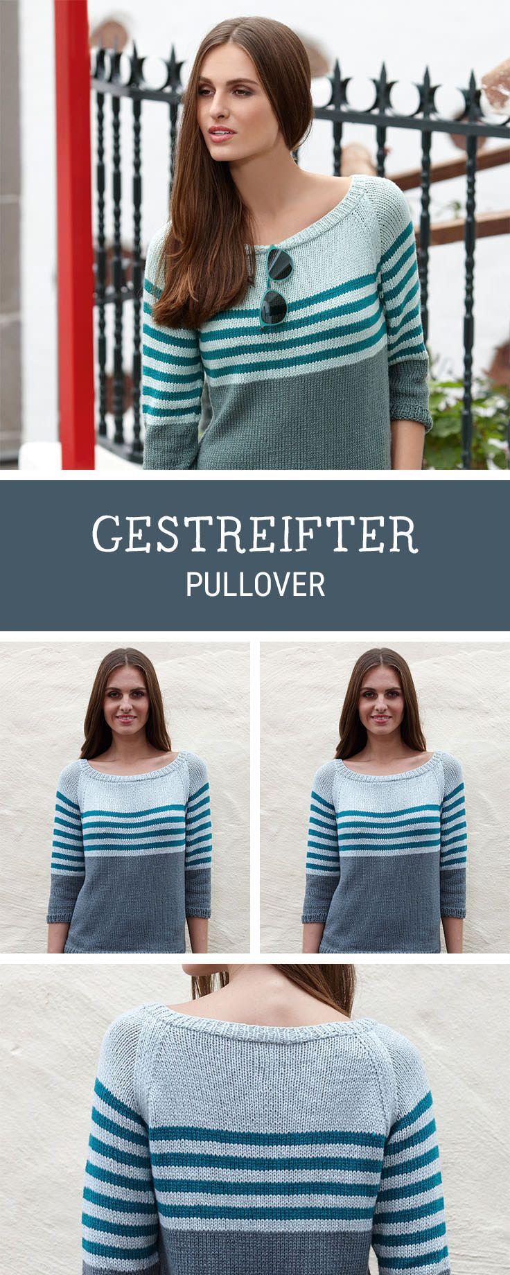 596c05ffc043e4 Einfache Strickanleitung für einen schlichten Pullover mit Streifen / diy  knitting pattern for a pullover with stripes via DaWanda.com