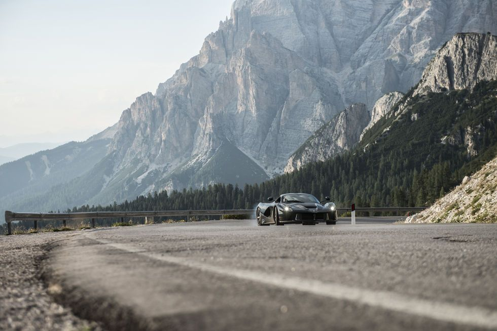 Drifting LaFerrari in the Dolomite mountains of Northern Italy