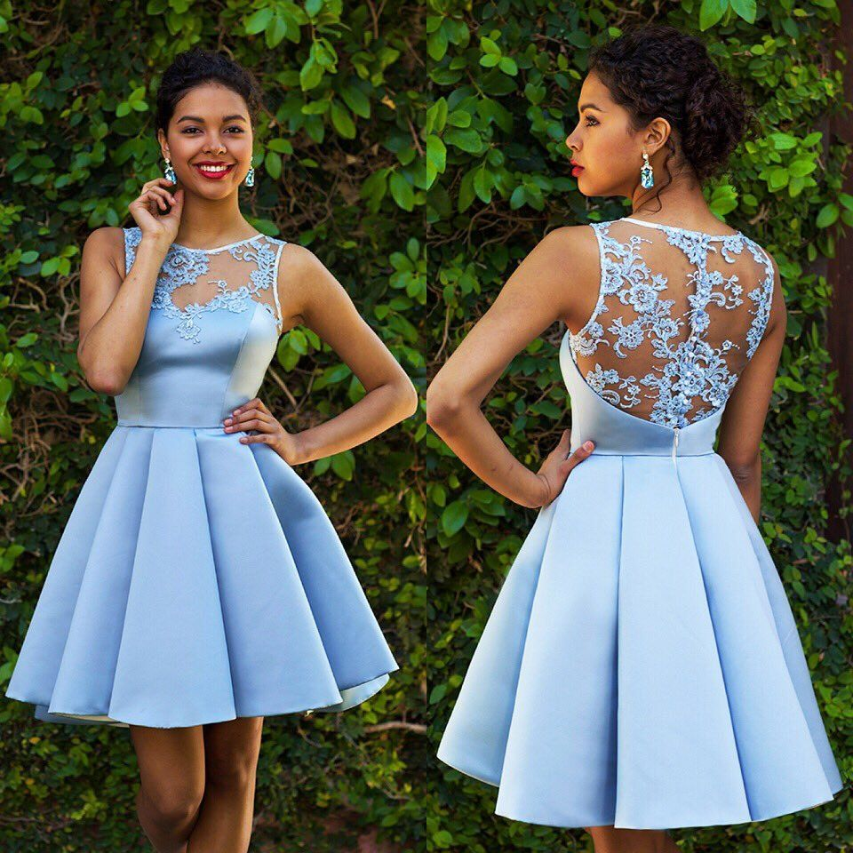 Charming sky blue lace homecoming dresssexy see through back short