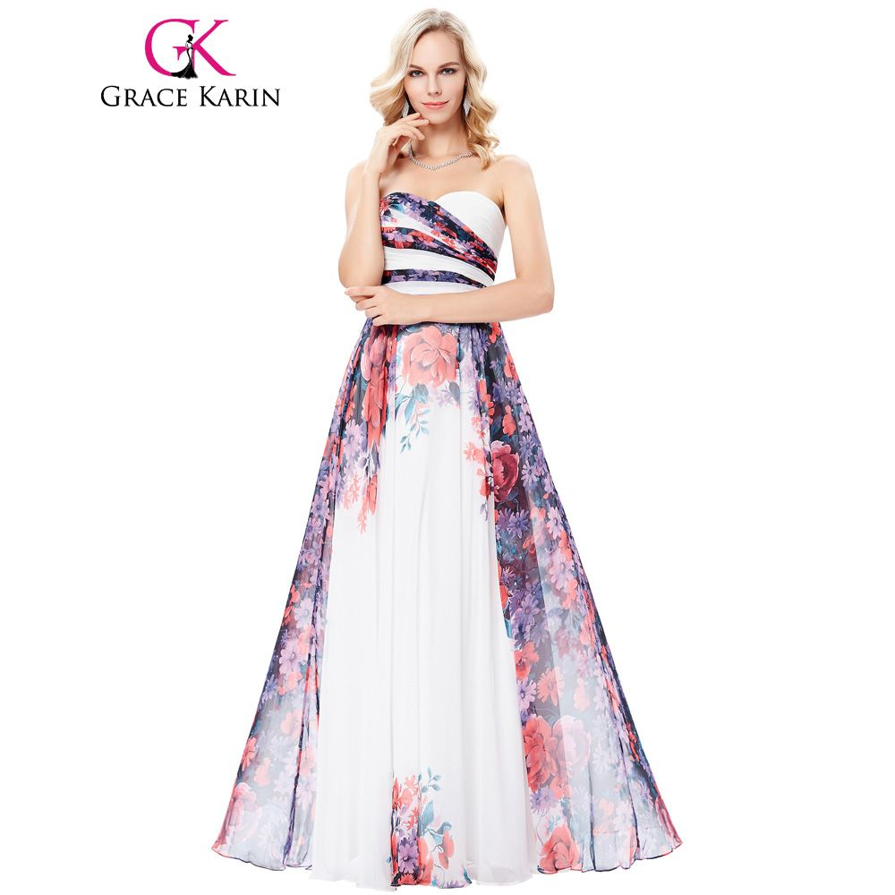 Click to buy ucuc grace karin strapless flower pattern prom dress