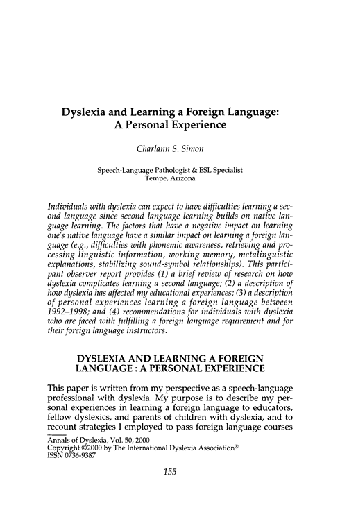 Dyslexia And Learning A Foreign Language Dyslexia Speech Language Pathologists Foreign Language