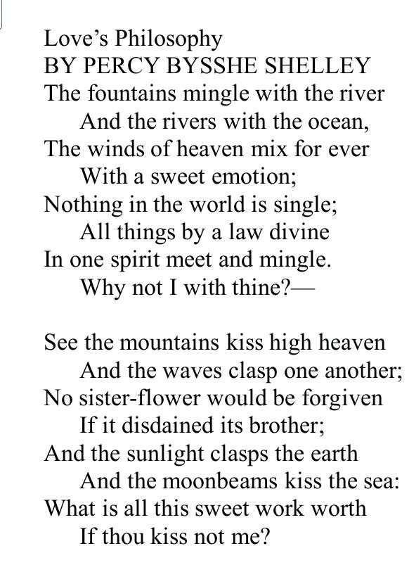 Love S Philosophy Shelley Poem A Day Poems Words Of Wisdom