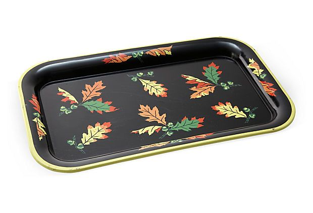 Vintage Metal Tray w/ Autumn Leaves on OneKingsLane.com