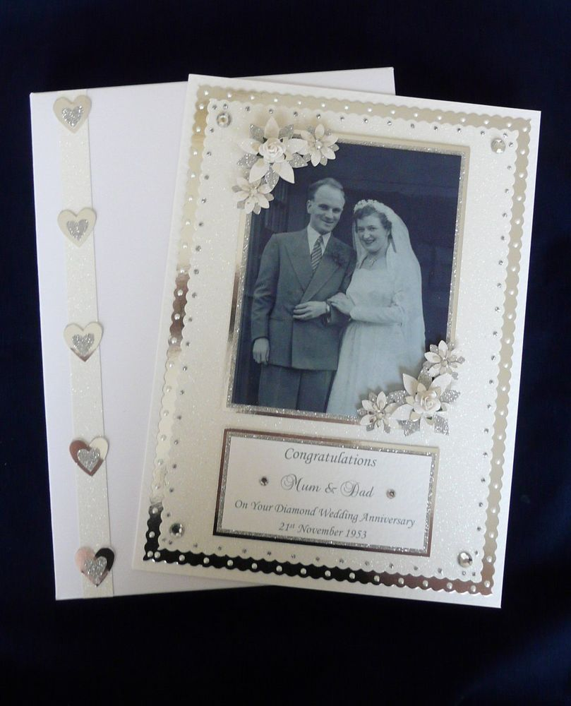 Superior 60th Wedding Anniversary Card Making Ideas Part - 6: Personalised Diamond 60th Wedding Anniversary Card +Box With Photograph