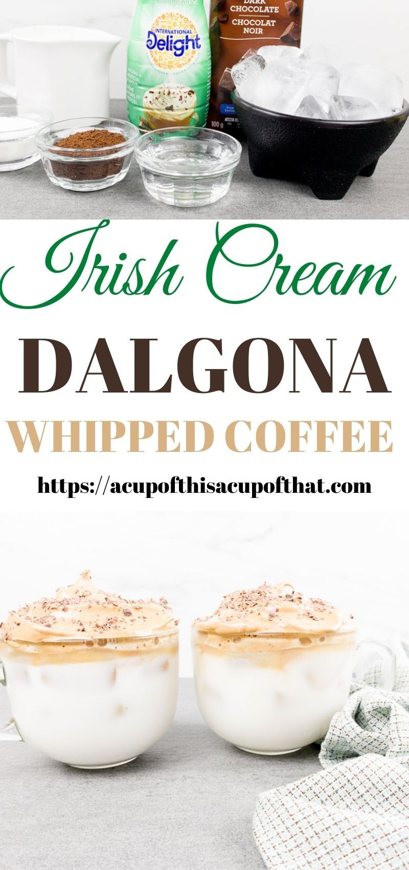 Irish Cream Dalgona Whipped Coffee A Cup Of This A Cup Of That Recipe In 2020 Irish Cream Coffee Recipes Food And Drink