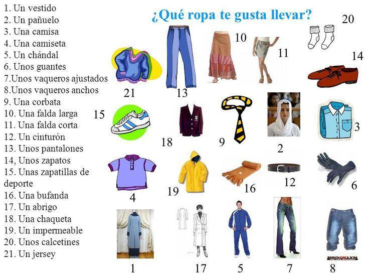 Vocabulario de la ropa (Nivel A2) ~ Actividad online para ...