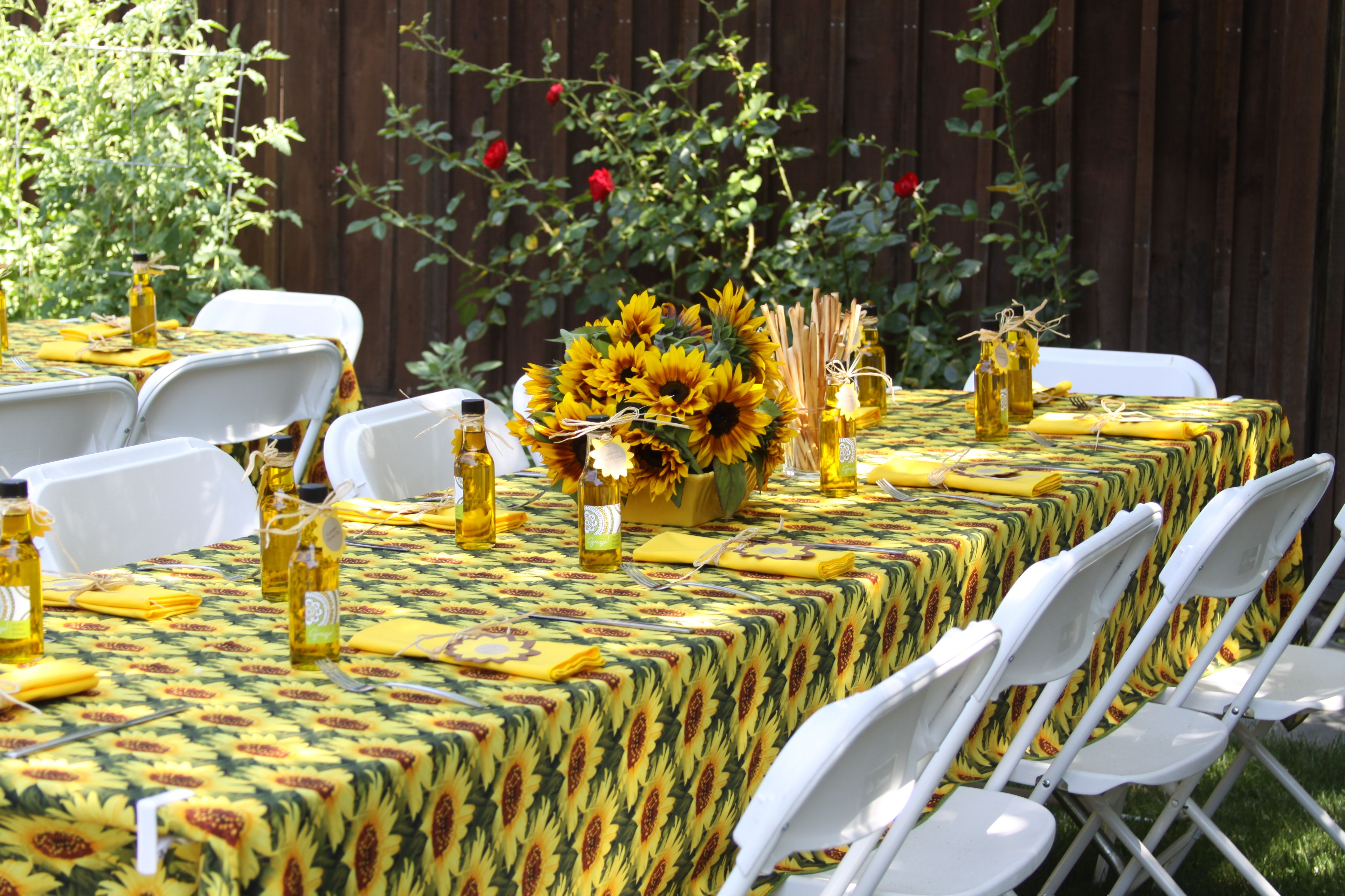 Tuscan, Rustic Italian Themed Bridal Shower With Sunflower Tablecloths