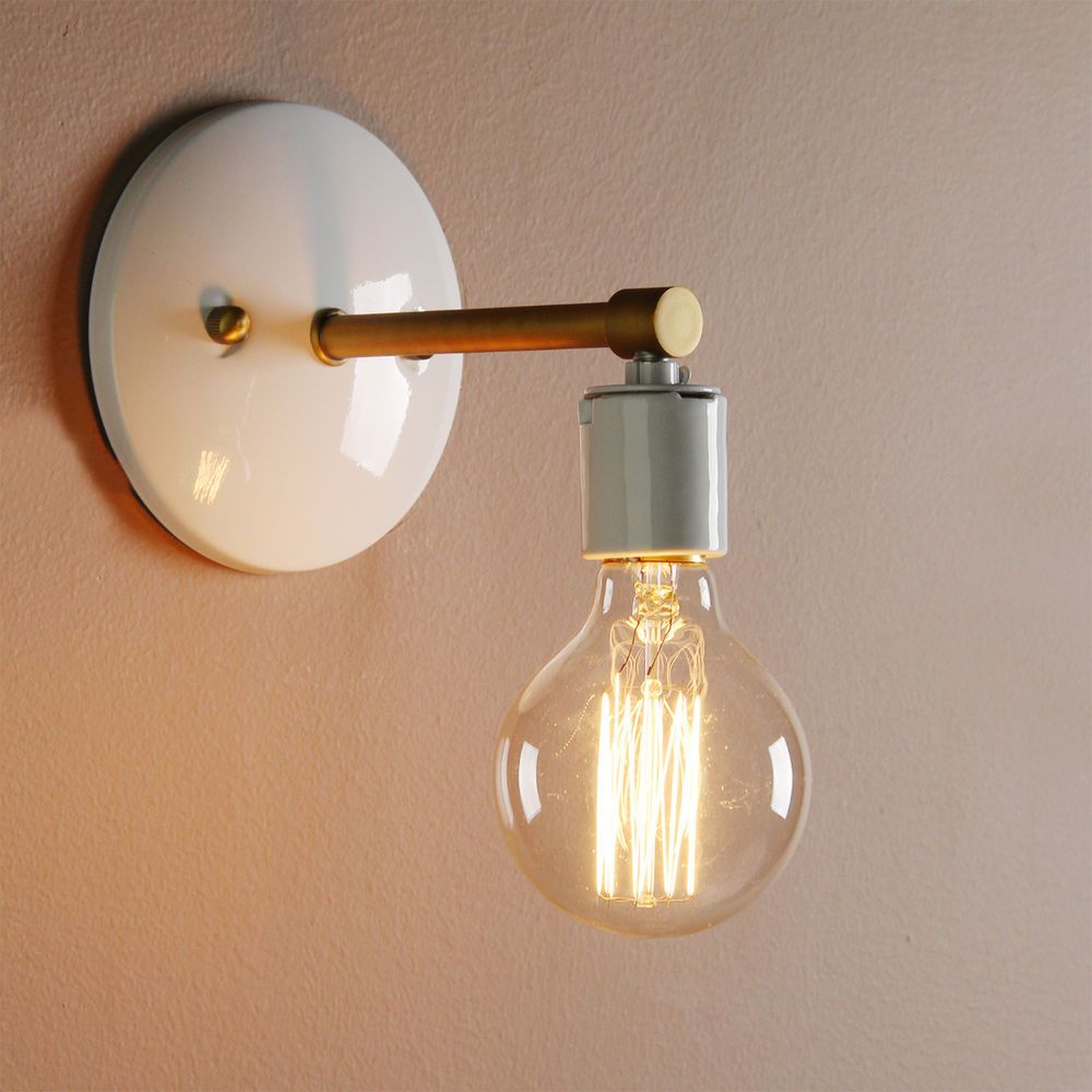 VINTAGE INDUSTRIAL SCONCE GLOBE BULB LOFT WALL LAMP ANTIQUE HOLDER ... for Bulb Holder Design  26bof
