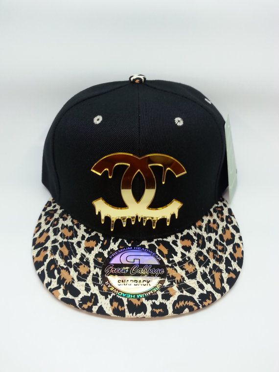 Fashion gold mirrored acrylic leopard snapback hat cap  e8aed612cf1
