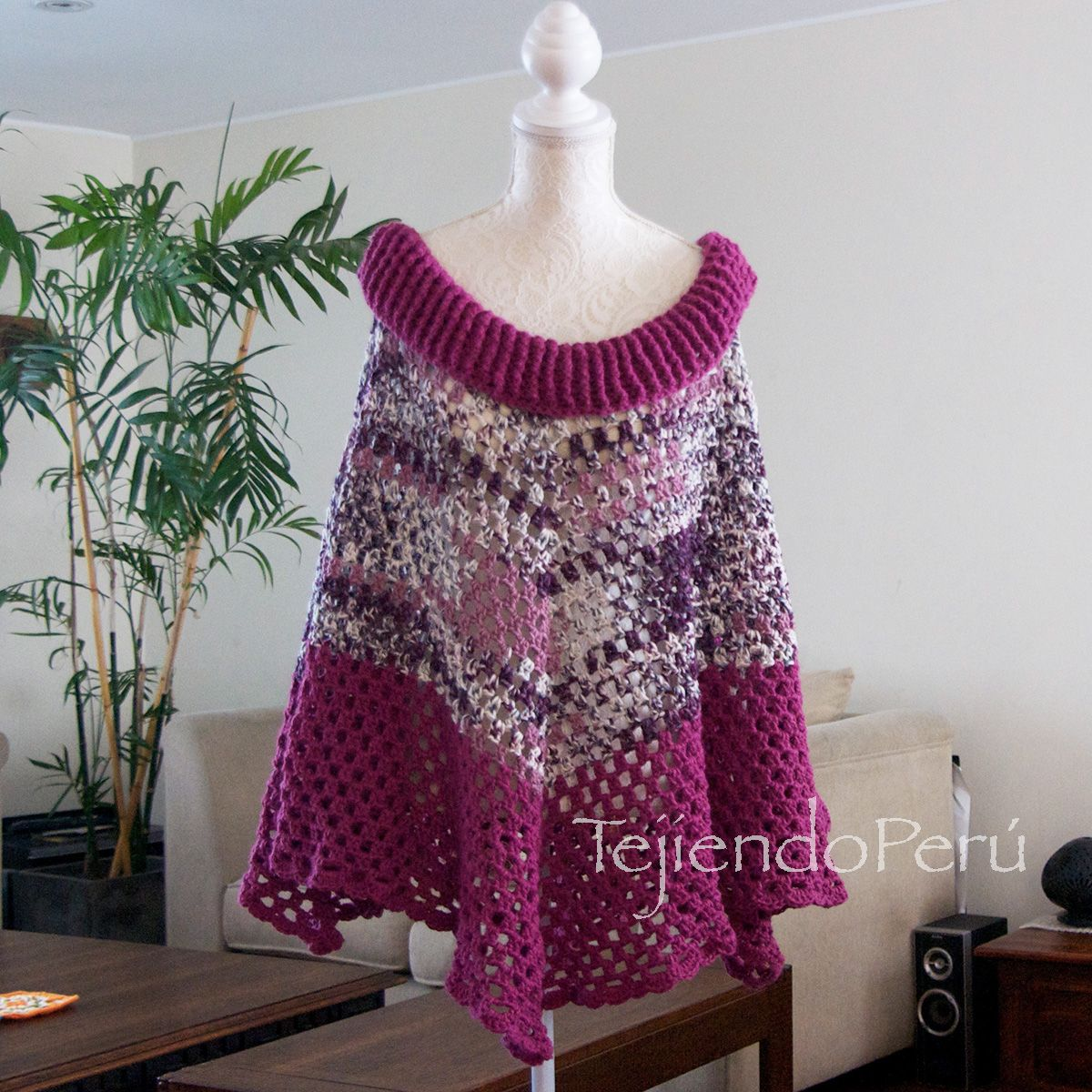 Poncho con cuello ancho tejido a crochet súper fácil! Video tutorial ...