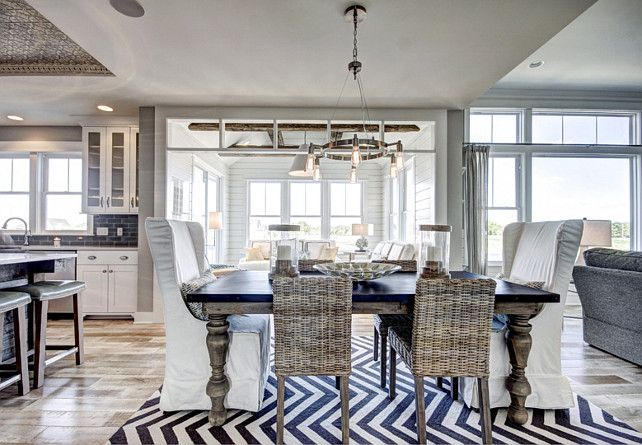 Beachy coatsal dining room with slipcover chairs - For the Home ...