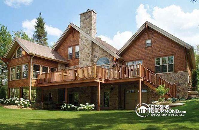 W3925 - Chalet moderne rustique, 3 à 5 ch, grande terrasse, abri - dessiner plan de maison