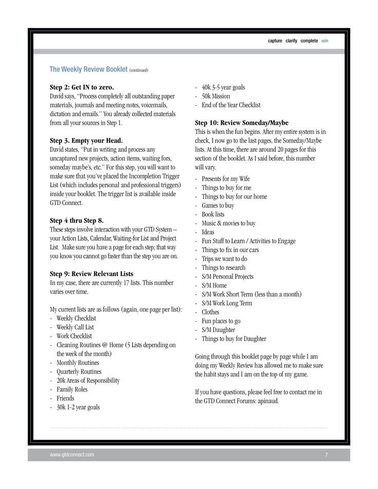 Image result for gtd cheat sheet Weekly review, Booklet