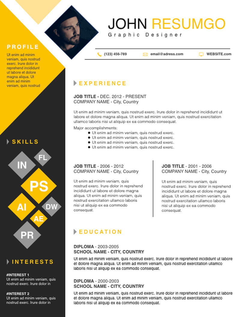Deimos Square Resume Template Resumgo Com Creative Cv Resume Design Graphic Design Resume