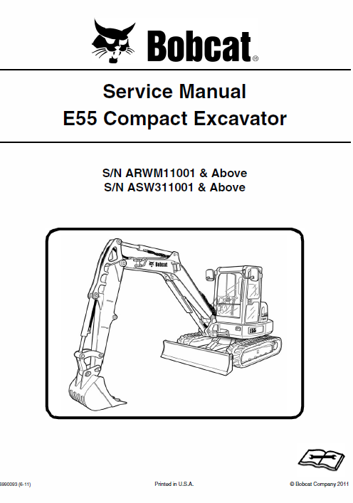 bobcat e55 compact excavator schematics, operating and servicebobcat e55 compact excavator schematics, operating and service manual