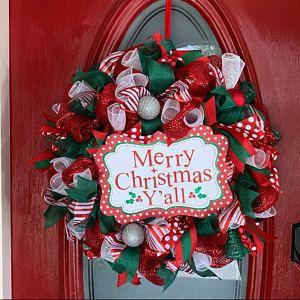 Christmas wreath, christmas decor, holiday wreath, holiday decor, handmade, deco mesh christmas wreath, turquoise christmas decor, gift idea #scarecrowwreath