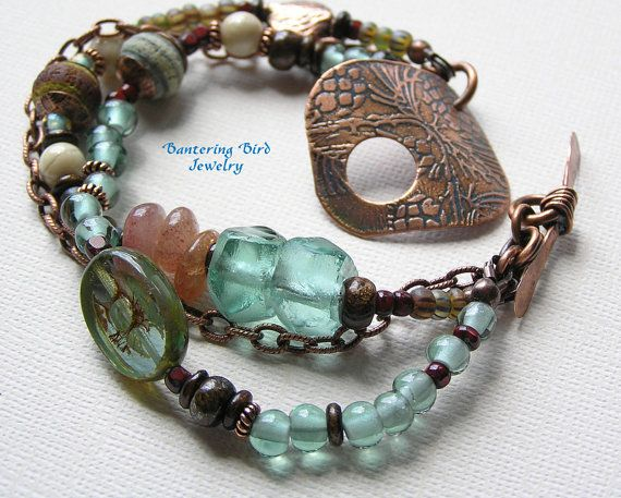 Multi Three Strand Beaded Gypsy Bracelet with Etched Copper Clasp SOLD