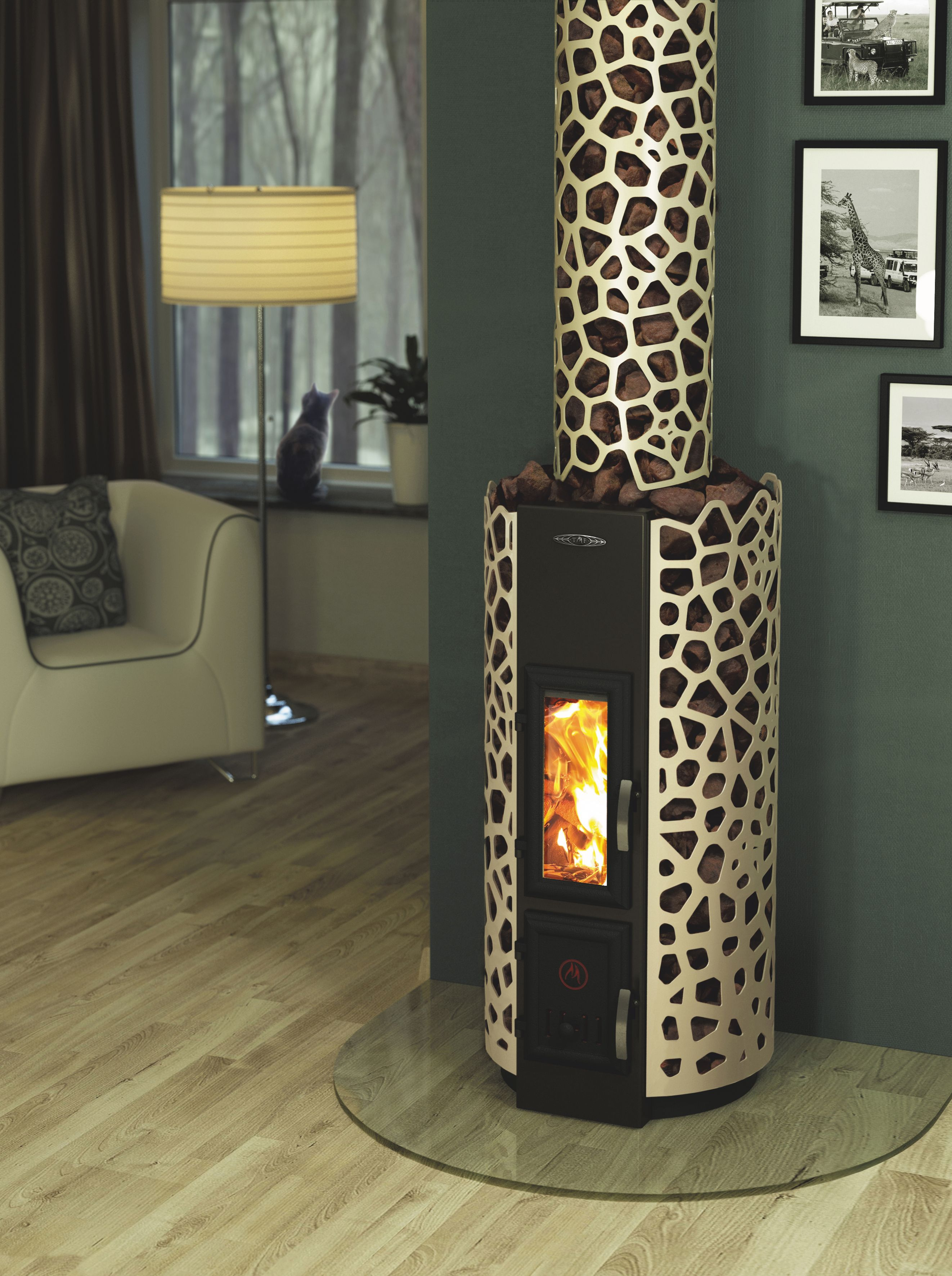 SAFARI Wood burning heating fireplace stove laded with stones